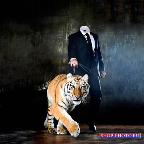 Шаблон для фотошопа - Парень с милым тигром
