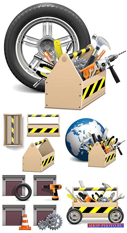 Авто инструменты в векторе, гараж / Auto vector tools, garage