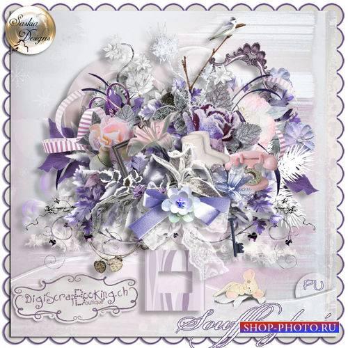 Цветочный винтажный скрап-комплект - Souffle Glace