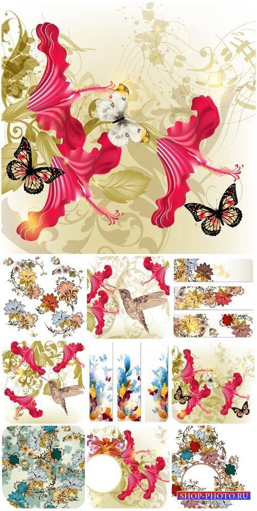 Цветы, птицы и бабочки в векторе / Flowers, birds and butterflies vector