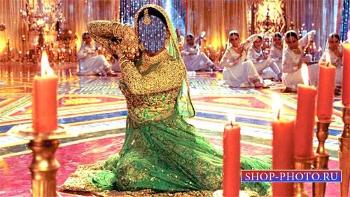 Шаблон для фото - Девушка в ярком индийском платье