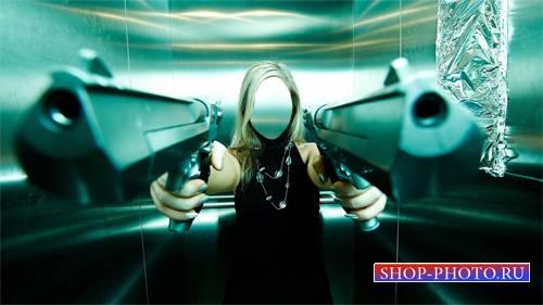 Шаблон для Photoshop - В лифте с оружием