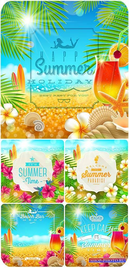 Летние морские фоны в векторе / Summer sea backgrounds vector