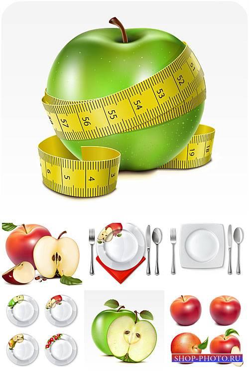 Яблоки, тарелки и столовые приборы в векторе / Apples, plates and cutlery v ...