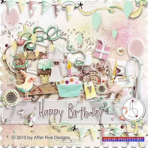 Детский праздничный скрап-комплект - Счастливого Дня Рождения