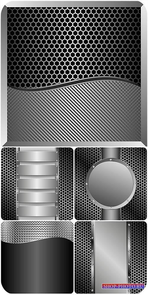Серебристые металлические фоны в векторе / Silver metallic background vecto ...