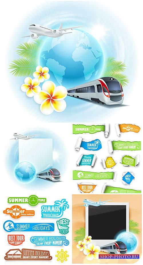 Путешествие,  летний отдых, векторные элементы / Travel, summer vacation ,  ...