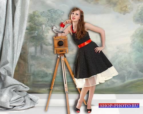 Шаблон  женский – Девушка в стиле пин-ап