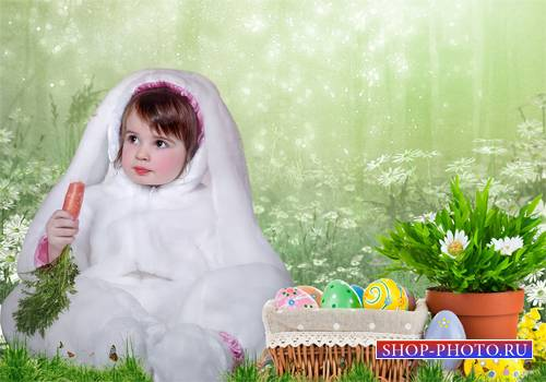 Шаблон  детский – Зайка к Пасхе