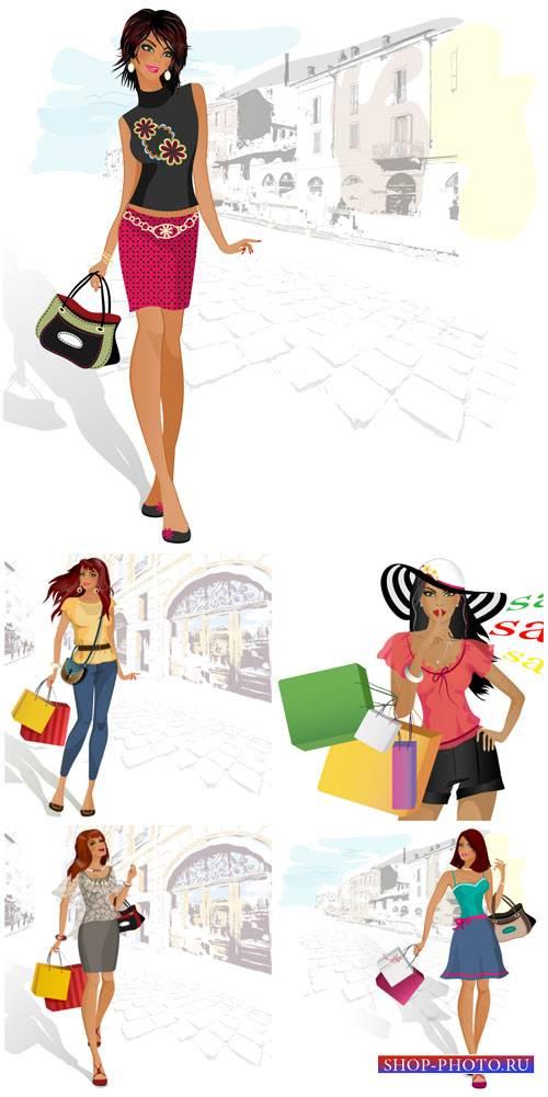 Модные девушки в векторе, поход за покупками / Fashion girls vector, shoppi ...