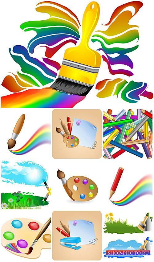 Краски, кисти и карандаши в векторе / Paints, brushes and pencils vector