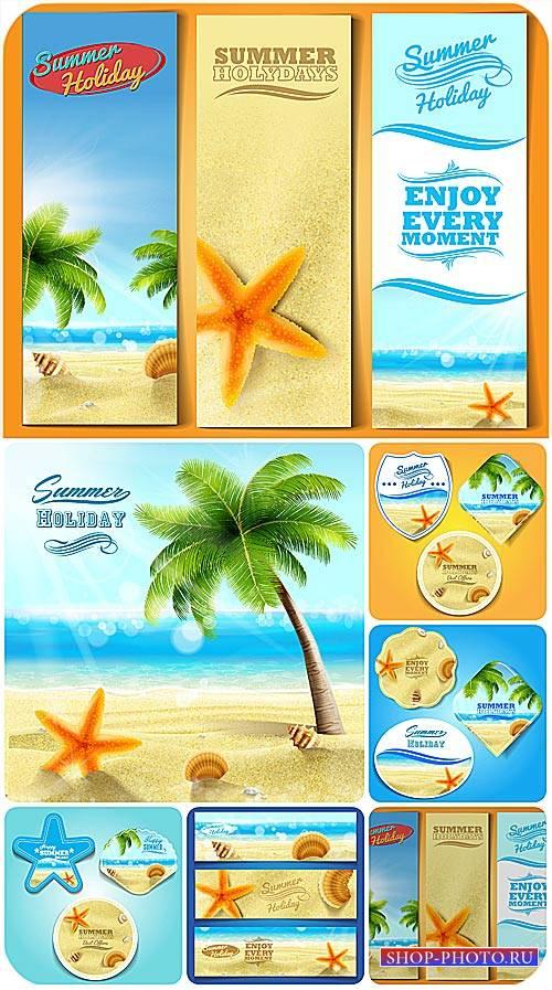 Морские летние фоны и баннеры в векторе, море и пальмы / Sea summer backgro ...