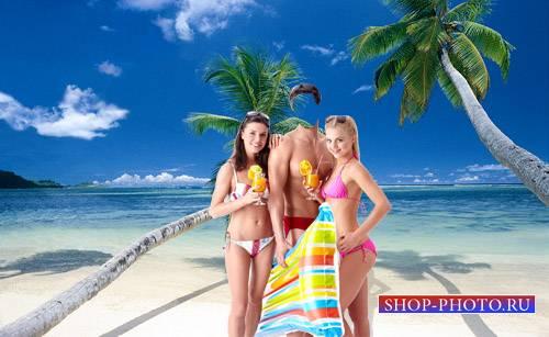 Шаблон для фото - Море, побережье и девушки