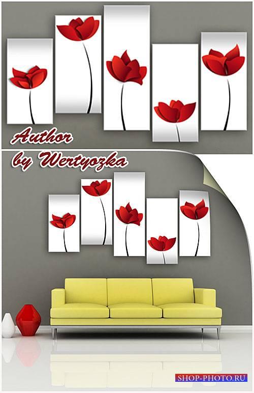 Модульная картина - Красные цветы на белом фоне