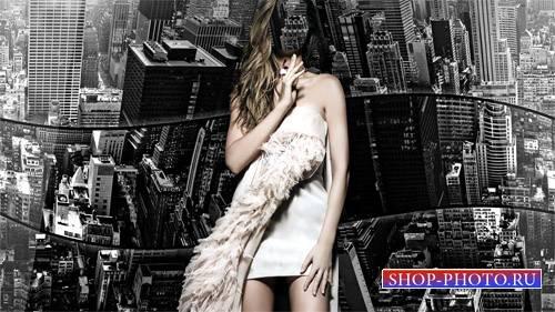Шаблон psd женский - Черно-белый Нью-Йорк