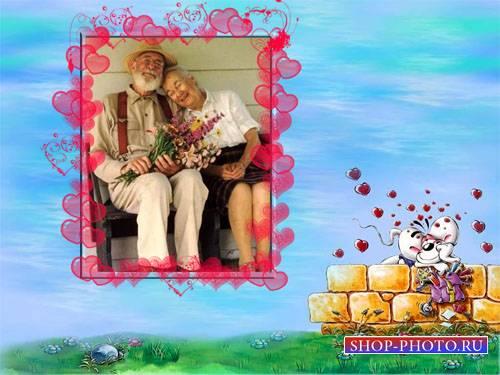 Рамка для фотошоп - Романтическая мышка