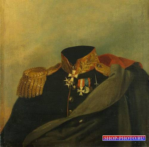 Шаблон psd мужской - Портрет полководца XIX века