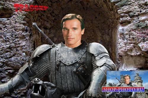Шаблон мужской для фотошоп - Рыцарь в кольчуге у замка