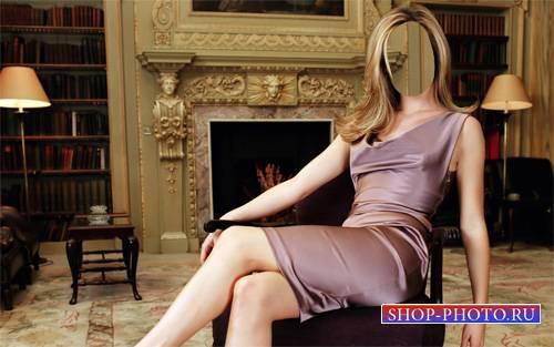 PSD шаблон для девушек - Женщина в платье у камина