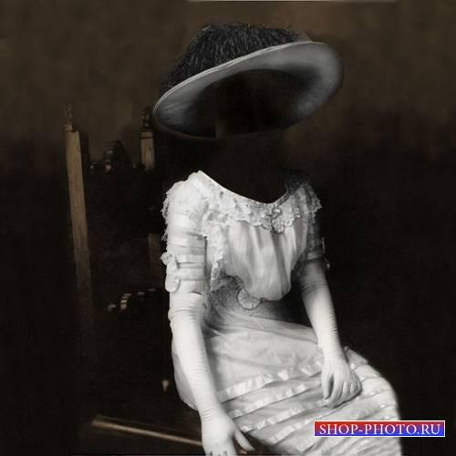 Шаблон для Photoshop - Портрет в старинном белом платье
