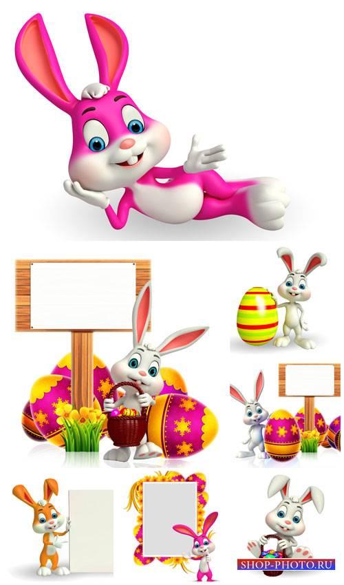 Пасхальный кролик с табличкой / Easter bunny with a sign - Stock Photo