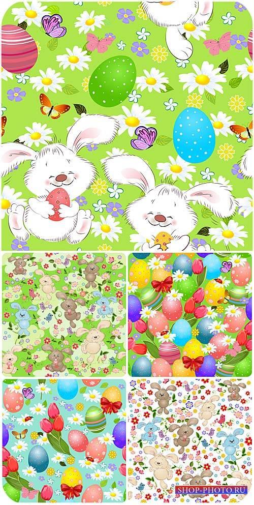 Пасхальные векторные фоны с пасхальными яйцами, кроликами и цветами / Easte ...