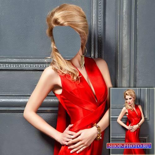 Шаблон для фотомонтажа - В красивом красном вечернем платье