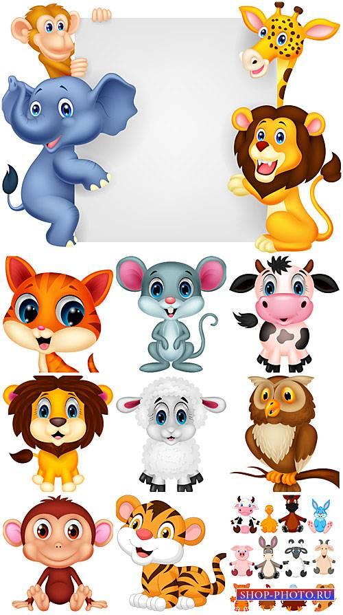 Животные в векторе, лев, слоник, тигр, обезьяна / Vector animals