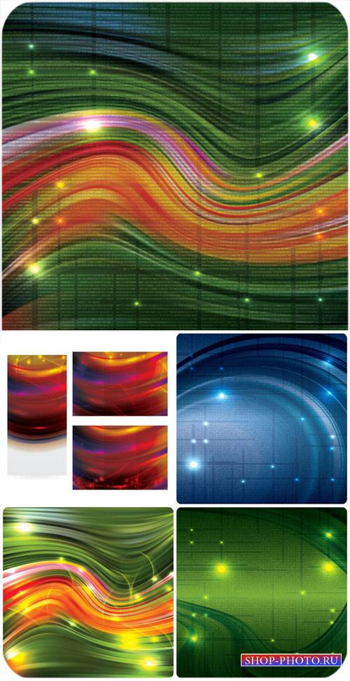 Векторные фоны, сияющие разноцветные фоны / Vector backgrounds, shining col ...