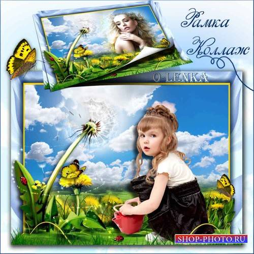 Рамка для фотошопа - Одуванчик, солнечный цветок