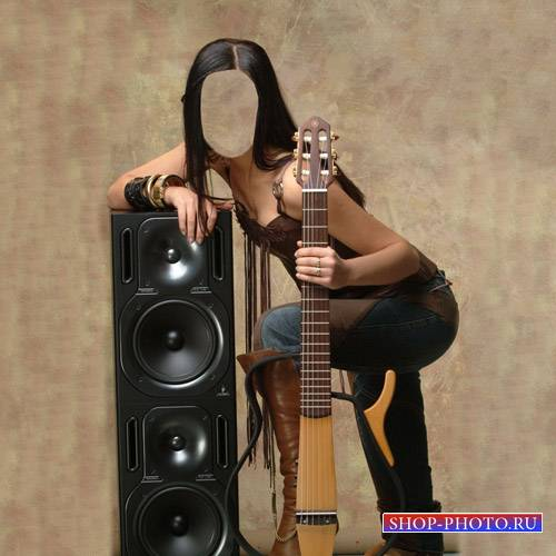 Шаблон для Photoshop - Симпатичная гитаристка