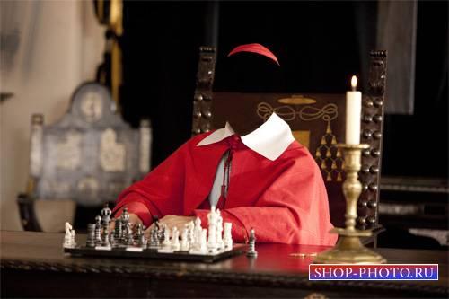 Шаблон для фотошопа - Кардинал в красной сутане