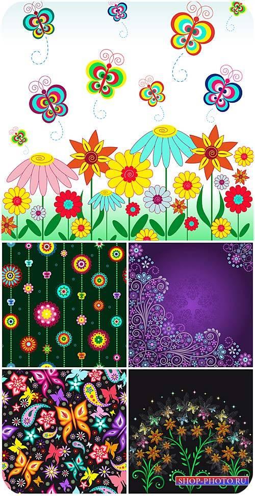 Цветы, бабочки, векторные фоны / Flowers, butterflies, vector backgrounds
