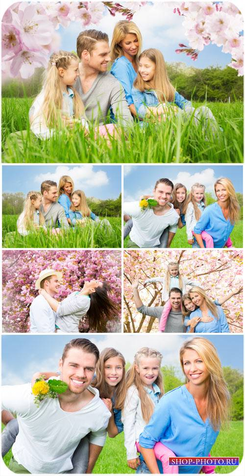 Счастливая семья на природе, родители, дети / Happy family in nature, paren ...