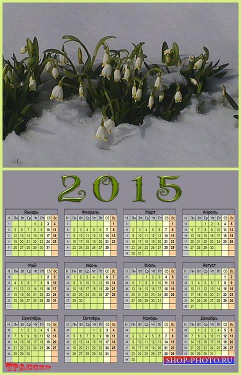 Календарь на 2015 год - Символ надежды, хрупкий подснежник