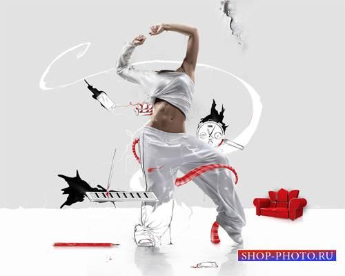 Шаблон для девушек - Нарисованный танец