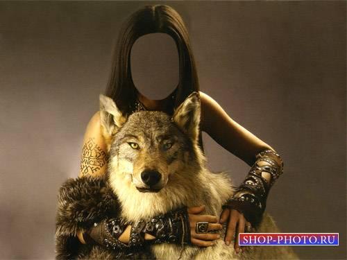 Шаблон для фотомонтажа - С хищным волком