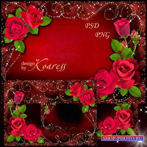 Романтическая фоторамка - Свежие алые розы