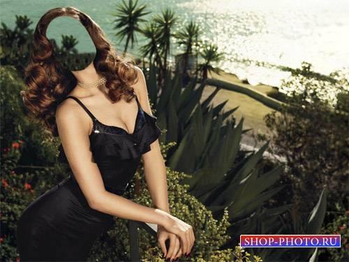 Шаблон для фотошопа - На балконе у моря в черном платье