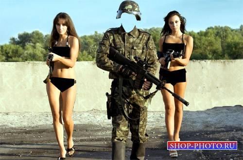 Шаблон psd - Солдат в форме и с 2-мя девушками