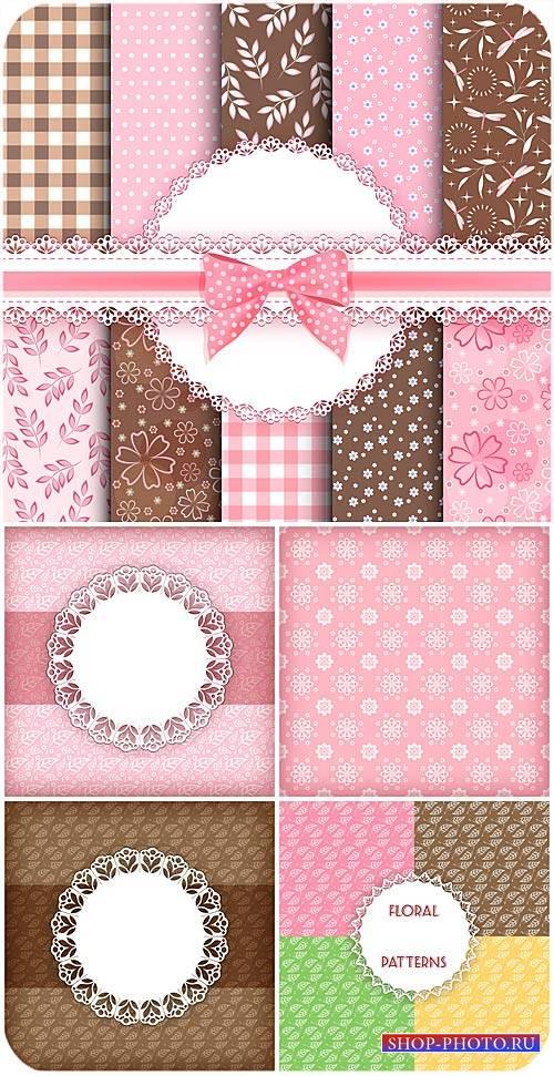 Цветочные векторные текстуры в коричневых и розовых тонах / Floral vector t ...