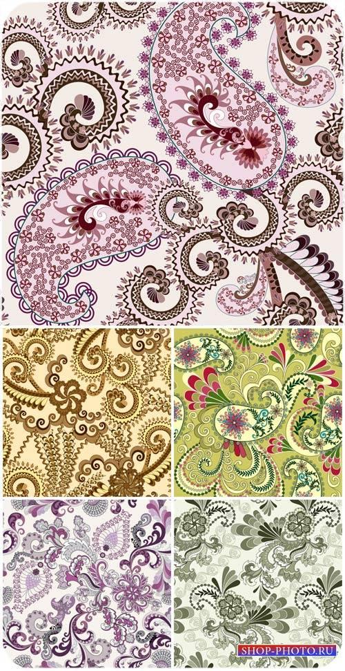 Векторные фоны с узорами, цветочные узоры / Vector backgrounds with pattern ...