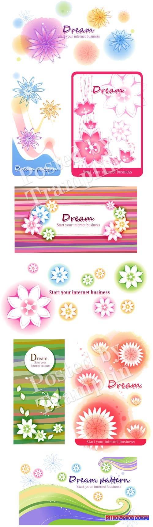 Векторные цветочные фоны - Vector flower backgrounds