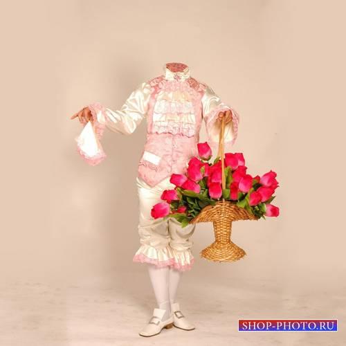 Шаблон мужской - В старинном костюме с большим букетом цветов
