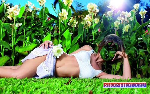 Шаблон для Photoshop - Девушка среди цветов