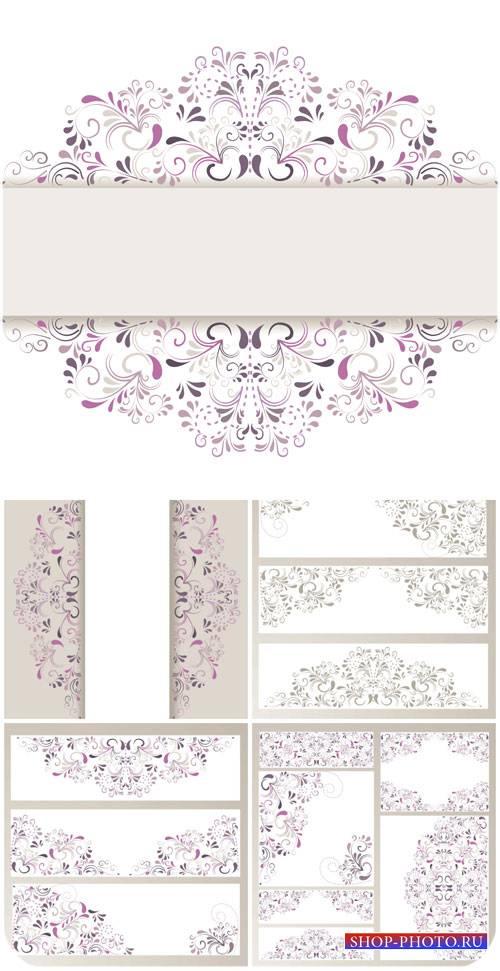 Векторные фоны с красивыми цветочными узорами / Vector backgrounds with bea ...