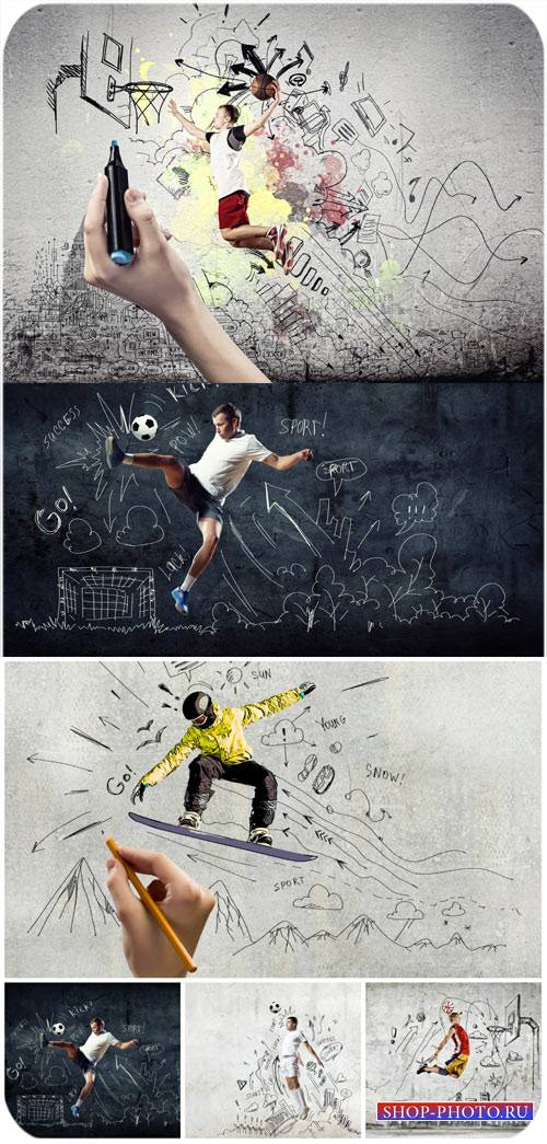Мужчины спортсмены, креатив / Male athletes, creative - Stock photo
