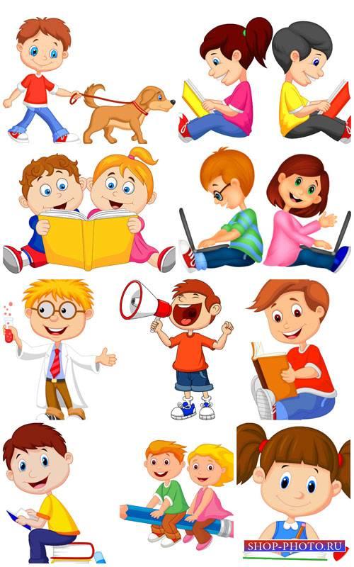 Дети в векторе, мальчики и девочки с книжками / Vector children, boys and g ...