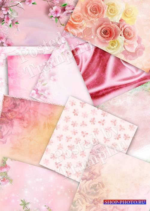 Розовые фоны  для фотоальбомов и презентаций