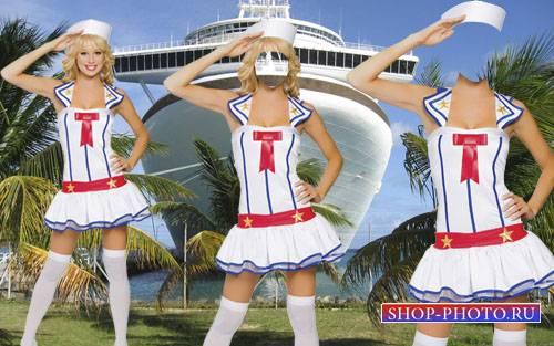 PSD шаблон для девушек - Морячка в форме